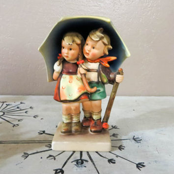 "Goebel Hummel Figurine Stormy Weather #71 Full Bee TMK 2 Mark Vintage Hummel Collectible Hummel 1950s Hummel 6 1/2"" Hummel Boy and Girl"