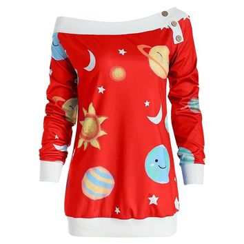 2018 Star Printed Sexy Off Shoulder Button T Shirt Women Long Sleeves Casual Tshirt Tops For Christmas SJ1048E