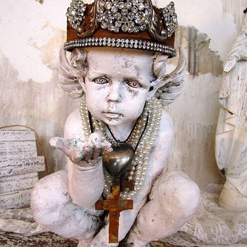 Embellished cherub statue painted distressed patina w/ rusted rhinestone ornate crown angel figure interior home decor anita spero design