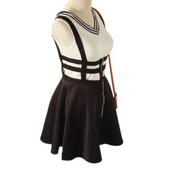 Women Lovely Suspender Braces Hollow Out Bandage Skater Mini dress   New Arrival