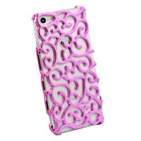 Leegoal(TM) Hot Pink Chrome Electroplating Hollow Pattern Hard Case Cover for Apple iPhone 5 5S With Accessories Sreen Protector,Anti Dust Plug