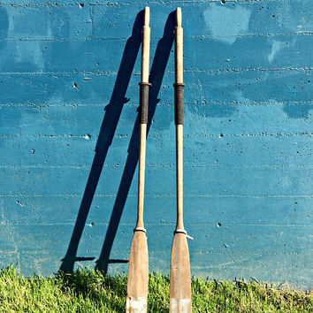 Pair Vintage Oars, Wooden Oars, Rustic Oars, Grey Boat Oars, Coastal Wall Decor, Oar Art, Oar Locks, Decorative Boat Oars, Nautical Decor