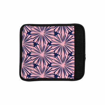 "Amy Reber ""Pink Daisy"" Blue Pattern Luggage Handle Wrap"