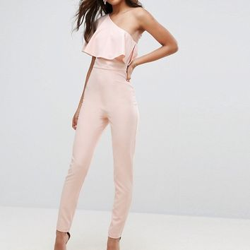 ASOS TALL One Shoulder Ruffle Jumpsuit at asos.com