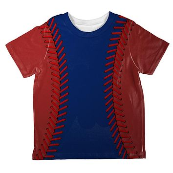 Baseball League Blue and Red All Over Toddler T Shirt