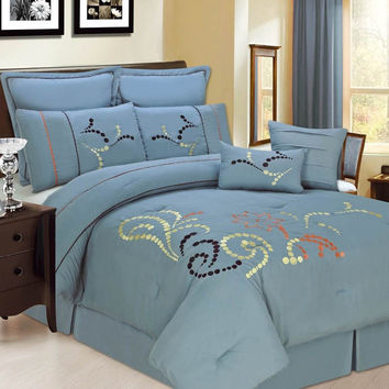 8pc Luxury Comforter Set- Copper Ridge- Blue