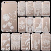 Phone Case Cover For iPhone 6 6s 4.7 Ultra Soft TPU Transparent Flower Animal Scenery Wind Bell Pattern Design Free Shipping Mix