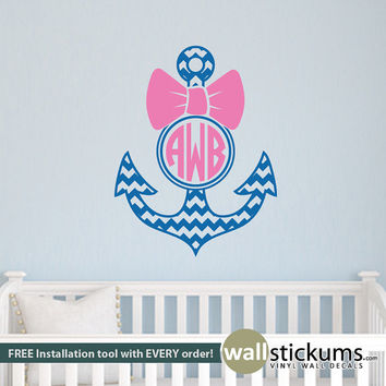 Girl's Wall Decal: Personalized Chevron Anchor Circle Monogram with Bow Bedroom Wall Art for Teens or Babies  - Wall Decor - WD0349