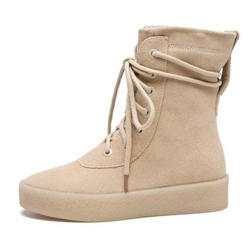 Autumn Season Crepe Bottom men shoes Platform suede Military Boots Casual Combat Boots hip hop Kanye West martin boots