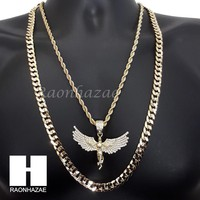 """ICED OUT 2PAC ANGEL CHARM ROPE CHAIN DIAMOND CUT 30"""" CUBAN CHAIN NECKLACE SET G4"""