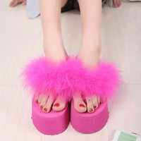 Funk Off Clothing — Pink, Black or White Fluffy Platforms
