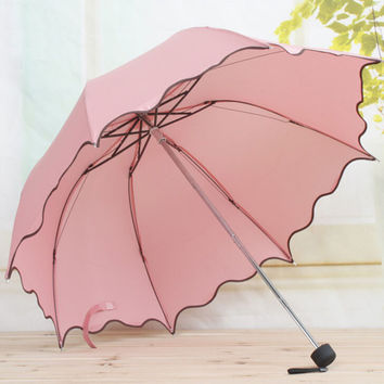 Women Rain Umbrella 4 Folding Female Umbrellas Handle Comfortable Strongly Brand For Princess 92CM