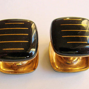 Vintage Retro Black & Gold Enamel Snap Two Sided Cuff Links * Large Cuff Links * Wedding Groomsmen * Mens Jewelry