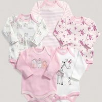 Girls Essentials Five Pack Of Pink Long Sleeved One Pieces
