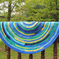 Recycled T-Shirt Rag Rug in Green, Blue and Yellow