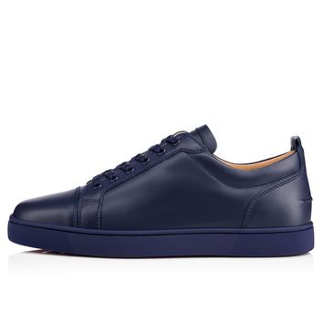 Christian Louboutin Cl Louis Junior Men's Flat China Blue Leather 13s Sneakers - Ready Stock