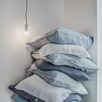FREE SHIPPING. Set of 2 bluish grey linen pillowcase