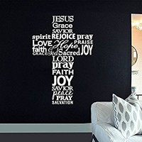 Wall Decal Vinyl Sticker Decals Art Decor Design Cross Jesus Christ God Joy Pray Religion Prayer Quote Bible Sign Bedroom Dorm (r635)