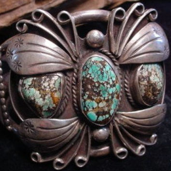 VINTAGE NAVAJO BUTTERFLY Cuff Bracelet - Turquoise and Silver