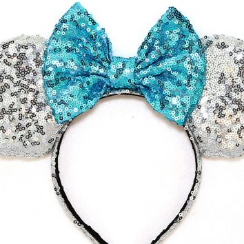 Silver Sequin Ears and Turquoise Blue Bow