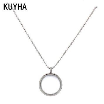 Make Custom DIY Women Silver Put Ppendant Charm Jewelry Magnetic Open Round Blank Glass Photo Locket Pendant Frame Necklace