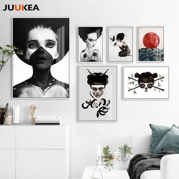 Modern Vogue Black White Soul Ghost Masked Bad Girl Posters And Prints Wall Art Canvas Print Painting for Living Room Home Decor