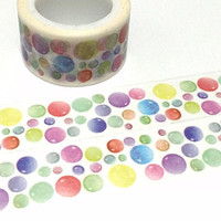 colorful bubble Washi tape 5M polka dots rainbow dots Colorful dots sticker Masking tape cute dots Bubble Gum Dots colorful  tape scrapbook