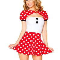 Red Cosplay Womens Mickey Halloween Cartoon Costume - MelodicDay