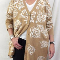 Isaac Mizrahi Live 2x size Sweater Beige White Floral Cardigan Plus All Season