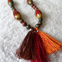 Colorful Ceramic Bead Boho Tassel Necklace - Bold Statement Necklace - Tassel Jewelry - Gift for Her