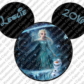 Disneys Frozen Midnight Elsa and Olaf Personalized w/ Name/Date Mickey Mouse Head Disney Vacation Printable Iron On Transfer DIY Clipart