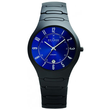 Skagen 817LBXNC Men's Denmark Blue Dial Black Ceramic Quartz Watch