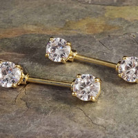 Crystal Gold Nipple Barbell Jewelry Barbell