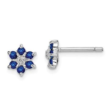 925 Sterling Silver Blue Sapphire Snowflake diamond Accent Earrings