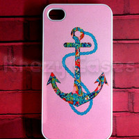 iPhone 4/4s case,  iPhone 4/4s cases Nautica Anchor With Pink Back ground   For your iphone 4/4s Black White Fast Ship