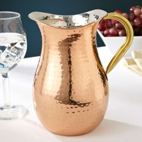 Hammered Copper Pitcher with Ice Guard, 1.25 Quarts
