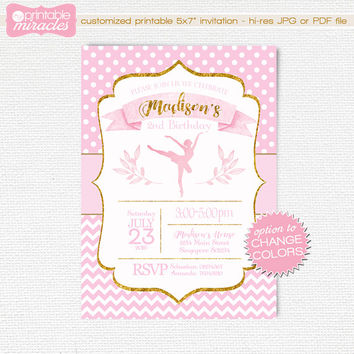 Printable ballerina invitation, sweet pink and gold ballet invite card, girls tutu themed party, personalized 1st bday, ballet dancer