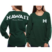 Hawaii Warriors Women's Pom Pom Jersey Oversized Long Sleeve T-Shirt - Green
