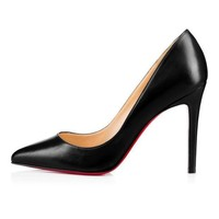 DCCK2 christian louboutin cl pigalle black leather 100mm stiletto heel