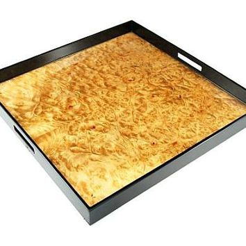 Large Square Lacquer Serving Tray   22 x 22   Walnut