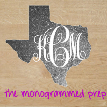 Texas, Georgia, North Carolina, Any State Decal Car Monogram Glitter or Any Regular Color Sticker