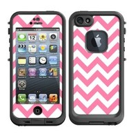 Skins Kit for Lifeproof iPhone 5 Case (skins/decals only) - Pink and White Chevron pattern print