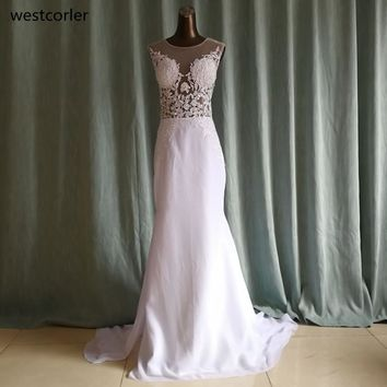 Mermaid Wedding Dress With Lace Appliques Jewel Neck Tank Sleeveless Sheers On Back See Through Wedding Dresses Bridal Gown 2017