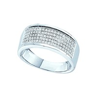10k White Gold Mens Round Diamond Micropave Wedding Anniversary Band Ring 1/3 Cttw 49976