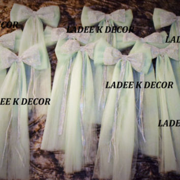 Set of 14 Church Aisle Decor, Wedding Pew Bow, Sweet 16 Bow, Quinceanera Bow,Bridal Shower Bow Bulk