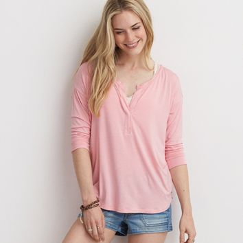 AEO SOFT & SEXY SPLIT NECK T-SHIRT