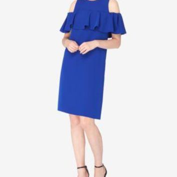 $128 New TAHARI ASL Women's Ruffled Bell Sleeve Blue Shift Tunic Dress Size 8
