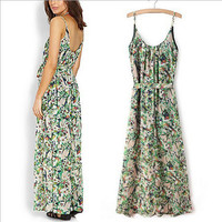 Green Floral Print Straps A-Line Tie Maxi Dress