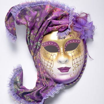 Halloween mask masquerade Venice, antique painting flowers full face party show female mask