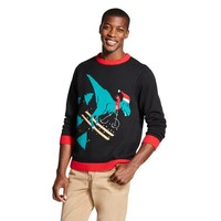Men's T-Rex Ugly Christmas Sweater Black - 33 Degrees